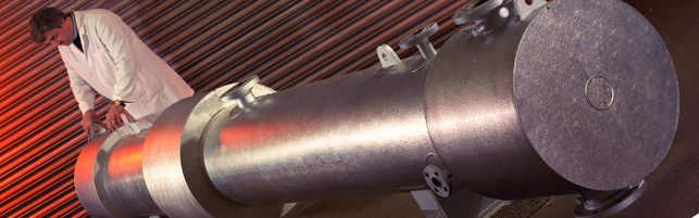 Header image of a clad shell and tube heat exchanger