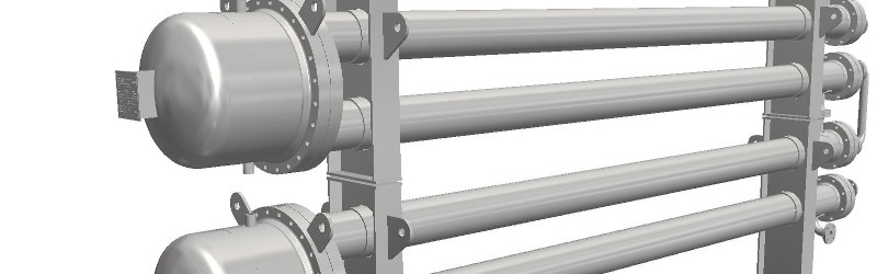 Two hairpin shell and tube heat exchangers stacked